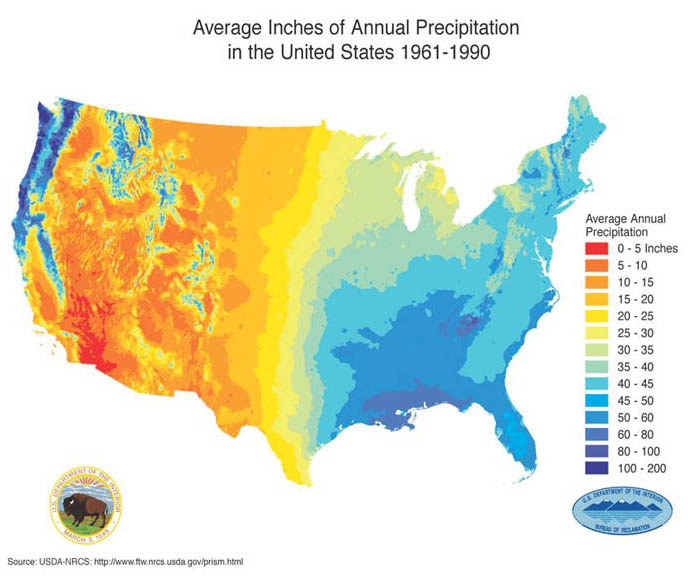 Volume Of New York Citys Annual Precipitation The Physics Factbook - United states precipitation map